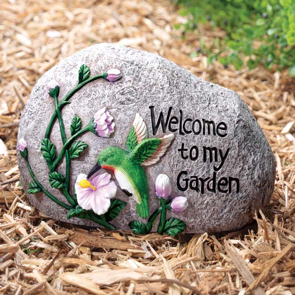 Hummingbird Welcome Garden Stone