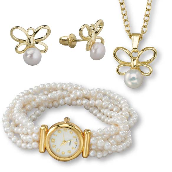 Pearl Stretch Watch & Butterfly Earring/Necklace Set