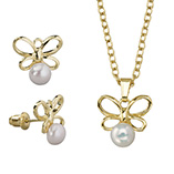Apparel & Jewelry - Pearl Butterfly Earrings & Necklace Set