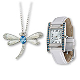 View All Jewelry & Keychains - White Watch & Dragonfly Pin/Necklace Set