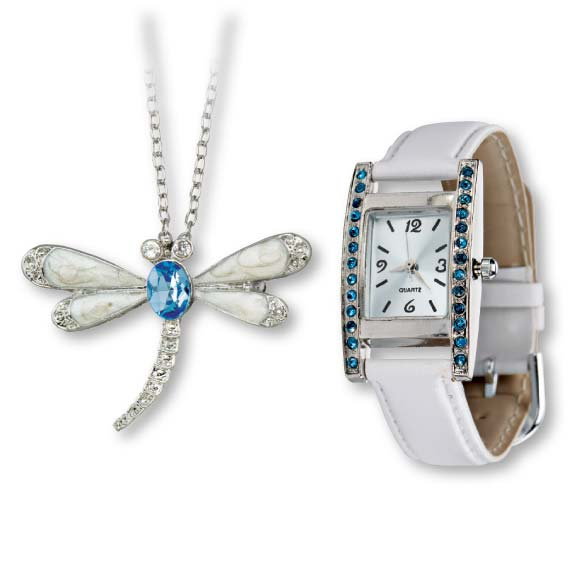 White Watch & Dragonfly Pin/Necklace Set
