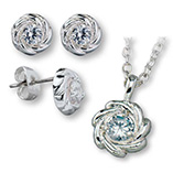 View All Jewelry & Keychains - Cubic Zirconia Flower Necklace & Earring Set