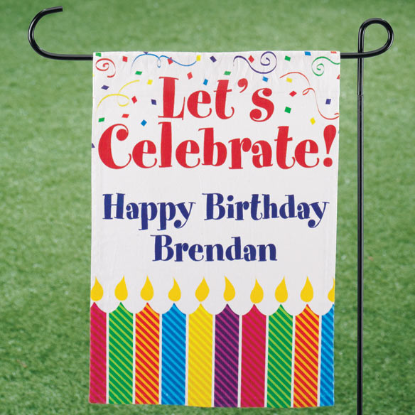 "Personalized ""Let's Celebrate!"" Garden Flag"