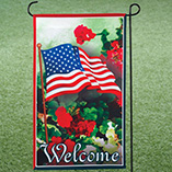 4th of July - American Flag Garden Flag