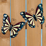 Patriotic Butterfly Metal Décor  Set of 2