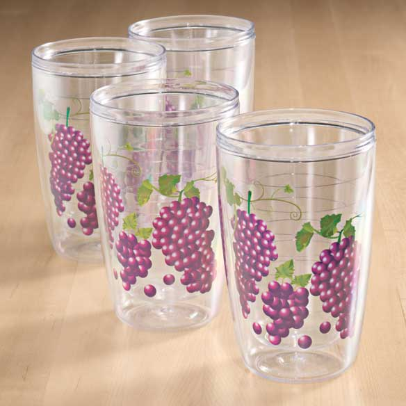 Grapes Insulated Tumblers 16 oz Set of 4
