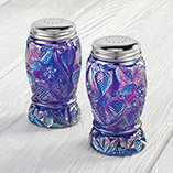 Depression Style Glassware - Carnival Blue Depression Style Glass Strawberry Design Shakers