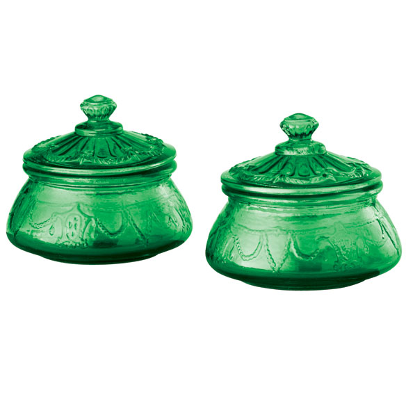 Emerald Green Sugar Jars Set of 2