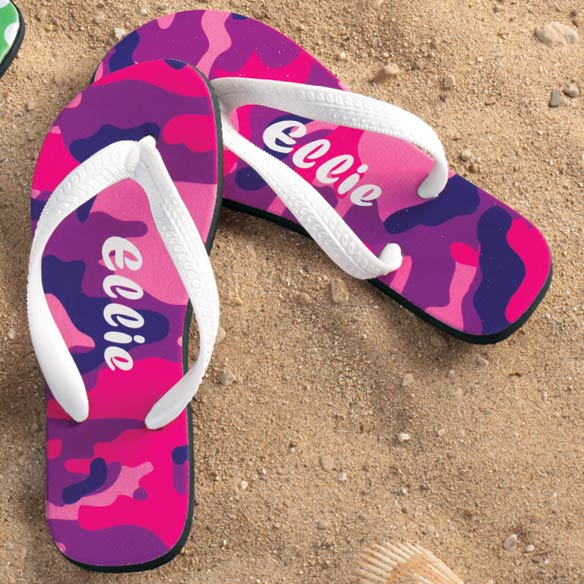 Personalized Pink and Purple Camouflage Flip Flop