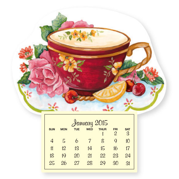 Mini Magnetic Calendar Teacup and Roses