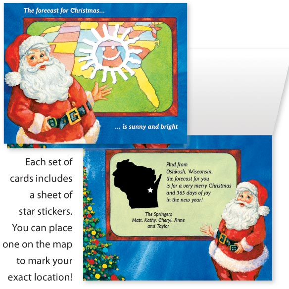 Santa's Weather Map Card Set of 20
