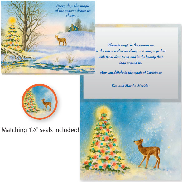 Deer and Decorated Tree Card Set of 20