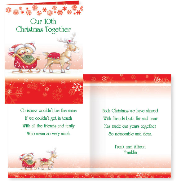 Years Together Teddy Bear Couple Christmas Card Set of 20