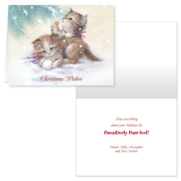 Kitten Christmas Card Set of 20 - View 1