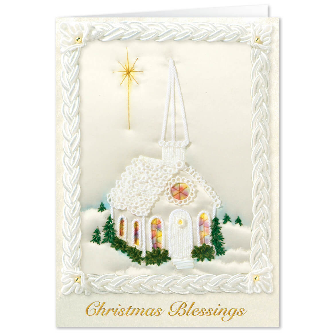 Personalized Satin Chapel Christmas Card Set of 20-342404