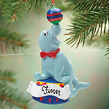 Personalized Circus Seal Ornament