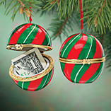 Ornaments - Christmas Striped Trinket Box Ornament