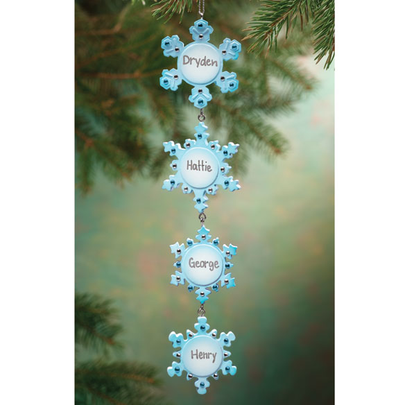 Personalized 4 Snowflakes Ornament