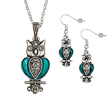 Apparel & Jewelry - Owl Necklace And Earring Set