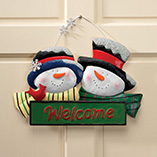 Frontdoor & Mailbox - Snowman Couple Welcome Sign