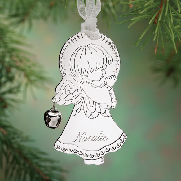 Personalized Silvertone Angel with Bell Ornament