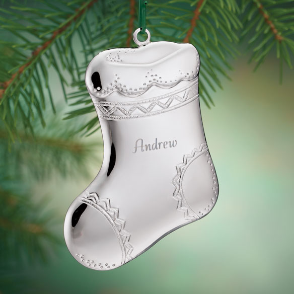 Personalized Silvertone Stocking Ornament