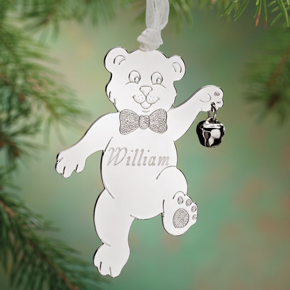 Personalized Silvertone Whimsical Bear Ornament