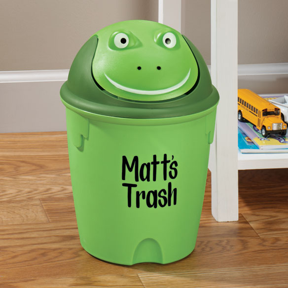 Personalized Childrens Frog Wastebasket