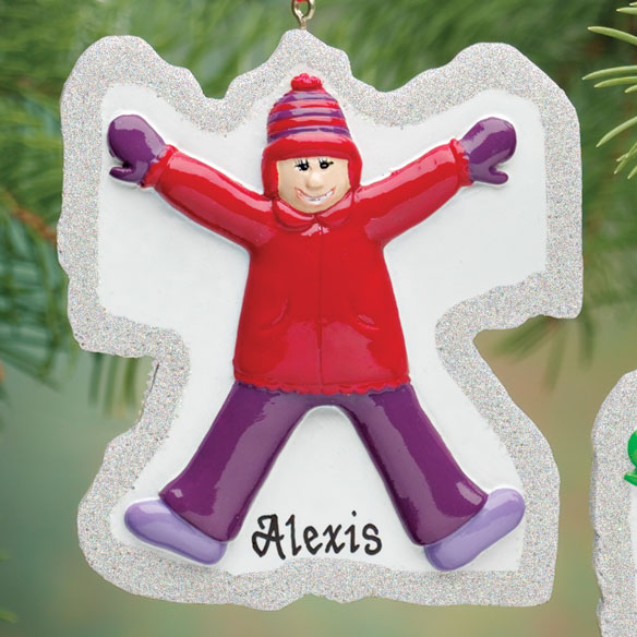 Personalized Girl Snow Angel Ornament