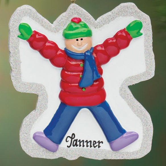 Personalized Boy Snow Angel Ornament