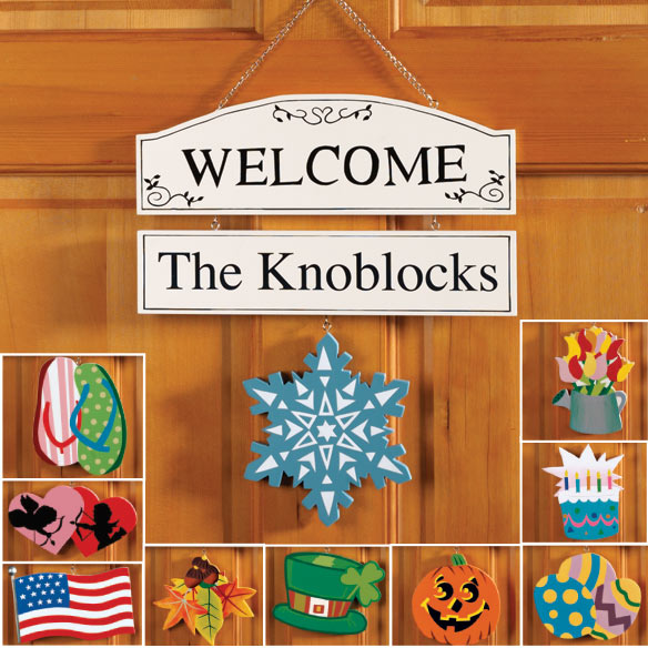 Personalized Welcome Sign with Seasonal Plaques
