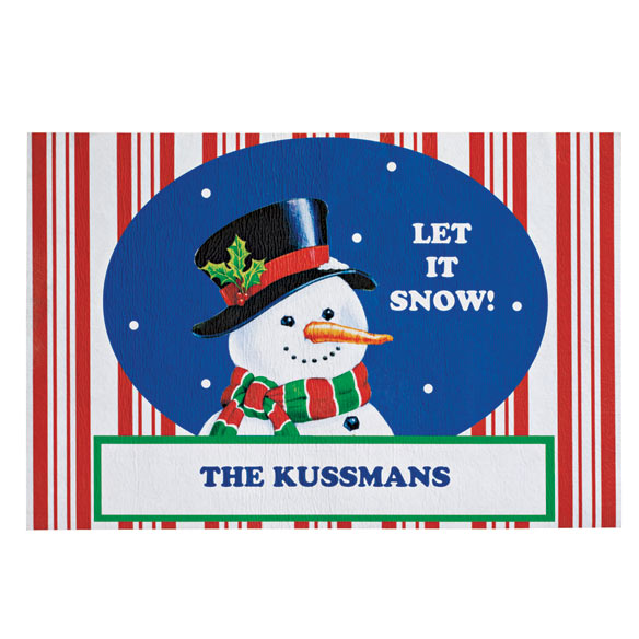 Personalized Let it Snow Holiday Doormat
