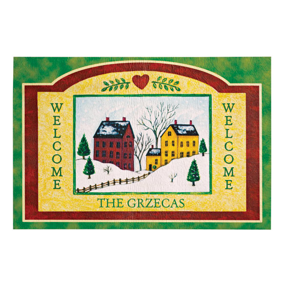 Personalized Folk  Art Holiday Doormat