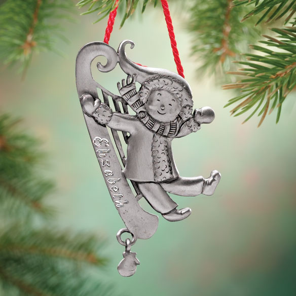 Personalized Pewter Sled Ornament
