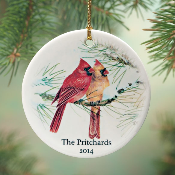 Personalized Cardinal Couple Porcelain Ornament