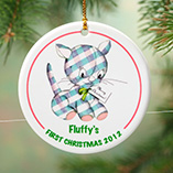 Personalized Patchwork Kitty Porcelain Ornament