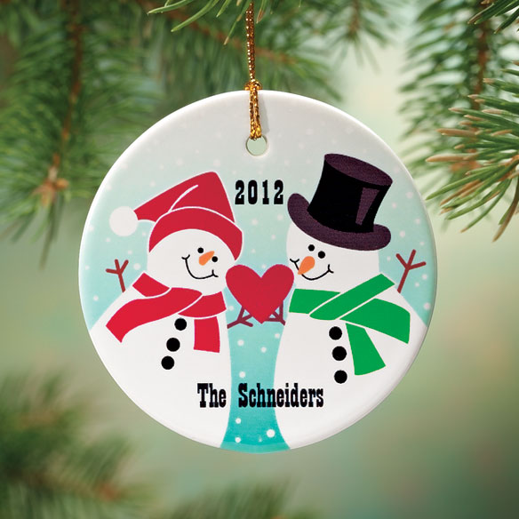 Personalized Snowman Couple Porcelain Ornament
