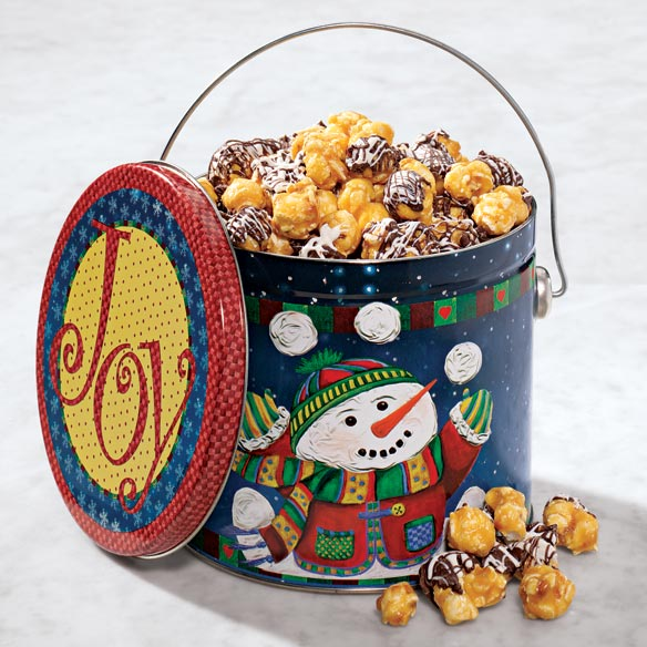 Snowman Pail with Popcorn Mix