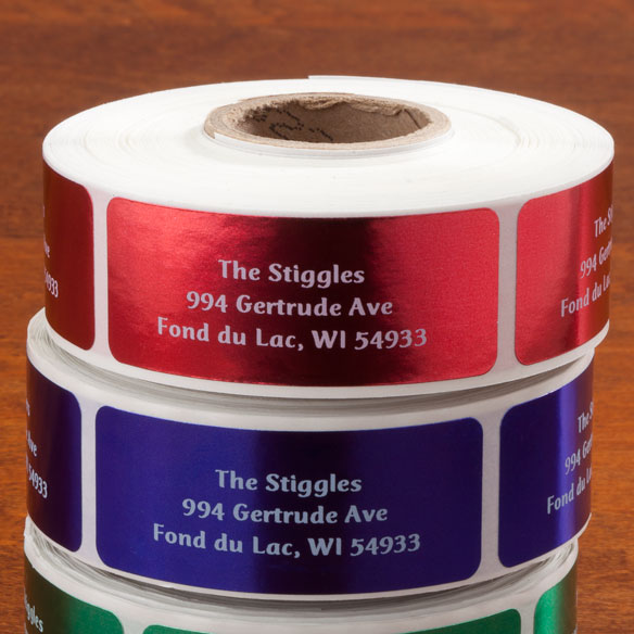 Jewel Tone Labels White Font Roll of 500