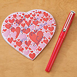 Valentines Day - Heart Shaped Notepad with Pen