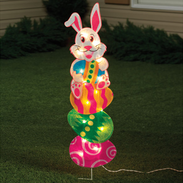 Bunny on Egg Stake Light