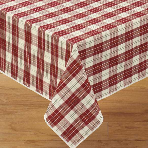 Holiday Plaid Fabric Table Cover