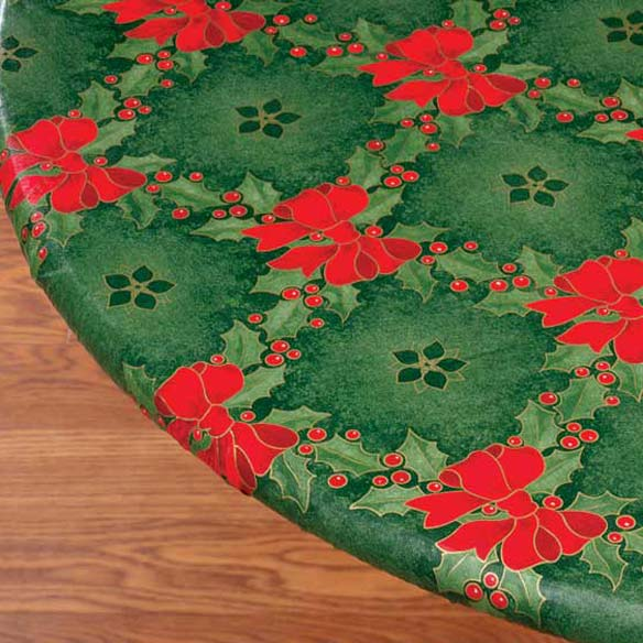 Holly & Ribbons Elasticized Table Cover
