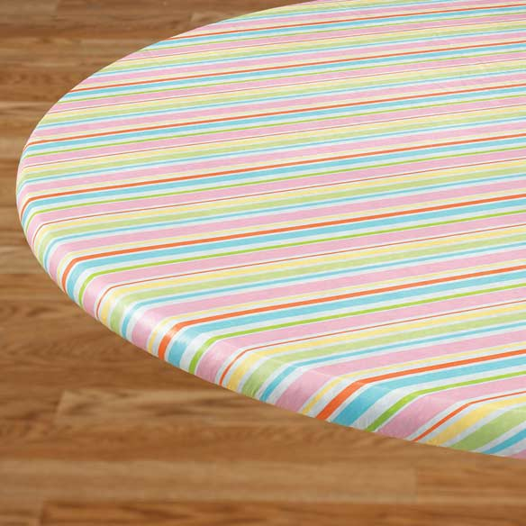 Pastel Easter Stripe Elasticized Table Cover