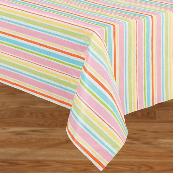 Pastel Easter Stripe Vinyl Table Cover - View 1
