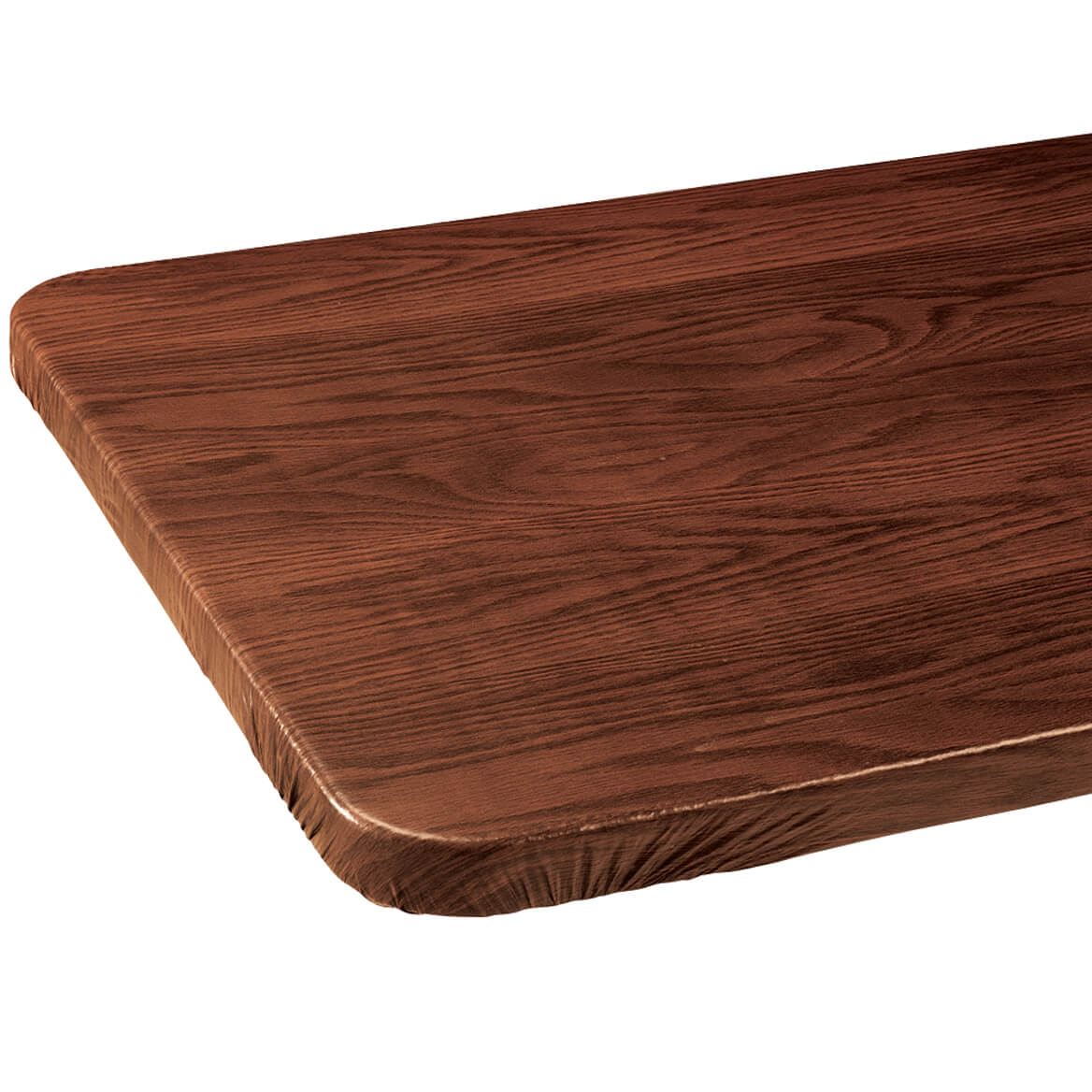 Wood Grain Vinyl Elasticized Banquet Table Cover