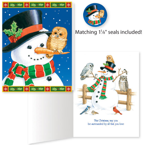 Snowman and Owl Unpersonalized Card Set of 20
