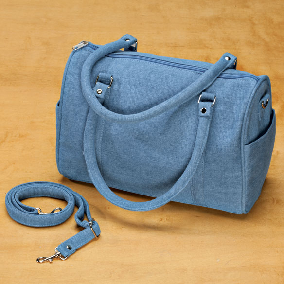 Barrel-Shaped Denim Purse