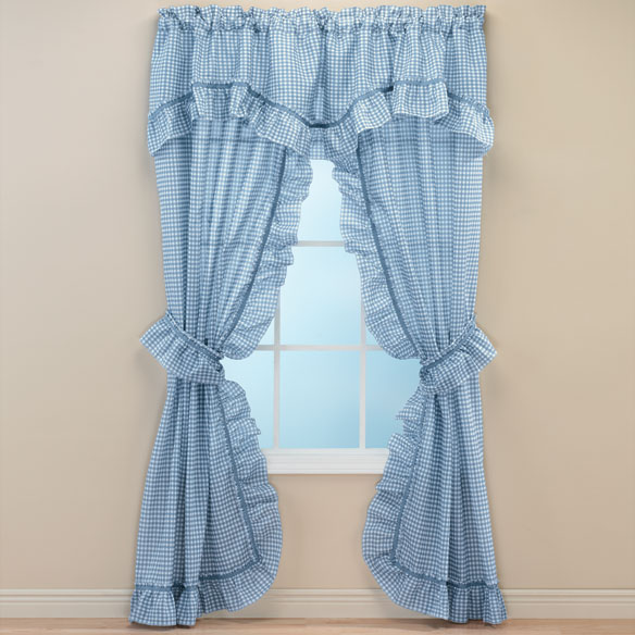 Gingham Check Curtain Pair