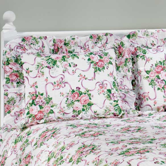 Ribbons & Roses Floral Plisse Pillow Shams - View 1